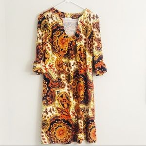 Jude Connally Orange Paisley Silk Abstract Dress